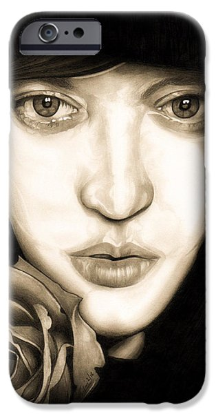 Painter Drawings iPhone Cases - Tina Ayres iPhone Case by Fred Larucci