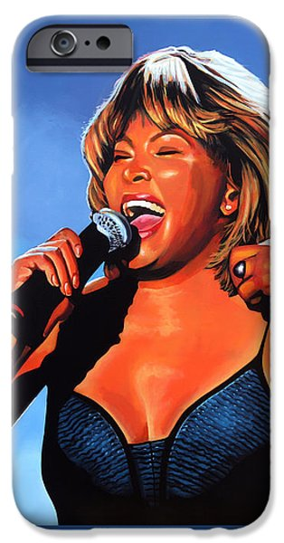 Celebrities Art iPhone Cases - Tina Turner Queen of Rock iPhone Case by Paul Meijering