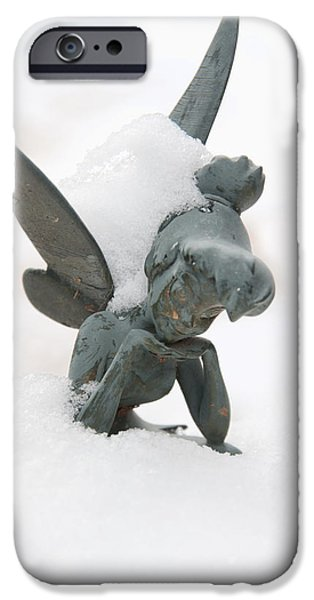 Tinker Bell iPhone Cases - Tink in the Snow iPhone Case by Susan Cliett