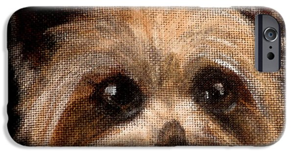 Dog Close-up Paintings iPhone Cases - Tinker iPhone Case by Carol Russell