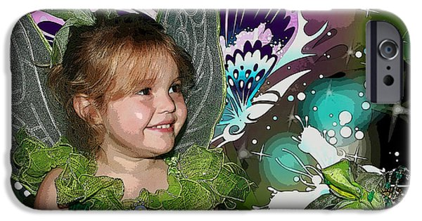 Little Girl Mixed Media iPhone Cases - Tinkerbell iPhone Case by Ellen Henneke
