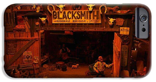 Wood Carving iPhone Cases - Tinkertown Blacksmith Shop iPhone Case by Jeff  Swan
