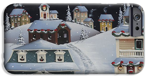 Snow Scene iPhone Cases - Tinsel Town Christmas iPhone Case by Catherine Holman