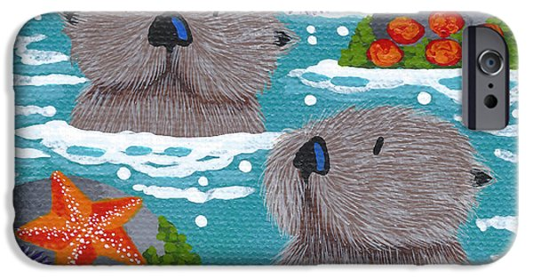 Childrens Art iPhone Cases - Tiny Otters VI iPhone Case by Merry  Kohn Buvia