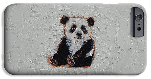 Michael iPhone Cases - Tiny Panda iPhone Case by Michael Creese