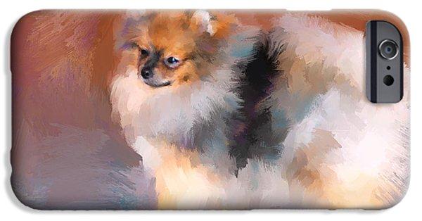 Tiny Dogs iPhone Cases - Tiny Pomeranian iPhone Case by Jai Johnson