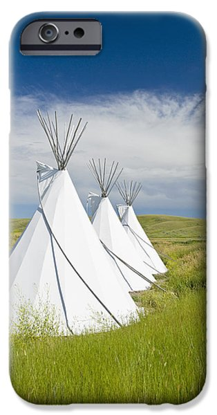 Dave iPhone Cases - Tipis Just Outside The Grasslands iPhone Case by Dave Reede