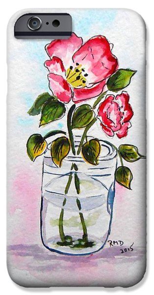 Water Jars Paintings iPhone Cases - Tipping mason jar with Poppies iPhone Case by Rita Drolet