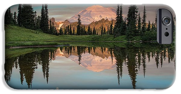 Rainforest iPhone Cases - Tipsoo Lake Mt. Rainier Washington iPhone Case by Larry Marshall
