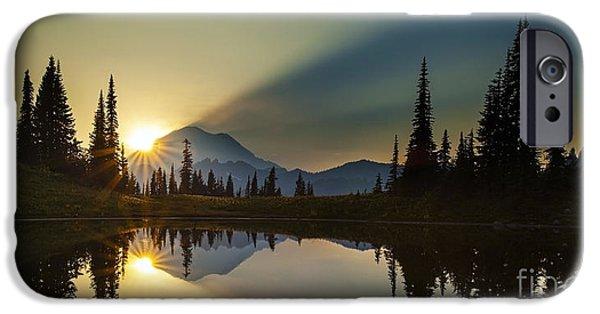 Mount Rainier iPhone Cases - Tipsoo Rainier Sunstar iPhone Case by Mike Reid