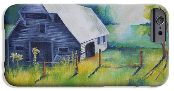 Smokey Mountains Paintings iPhone Cases - Tipton Barn Cades Cove TN iPhone Case by Golanv  Waya