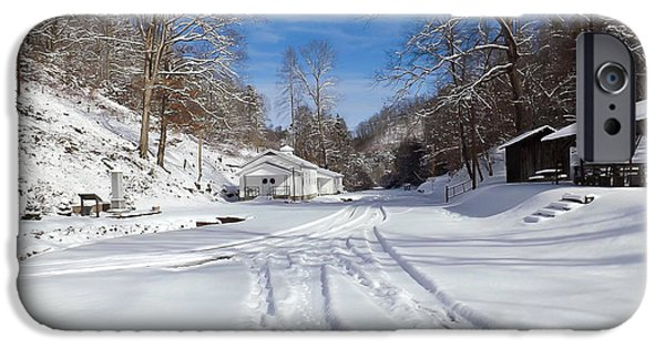 Shed iPhone Cases - Tiptop Baptist Church in the Winter iPhone Case by Lena Auxier