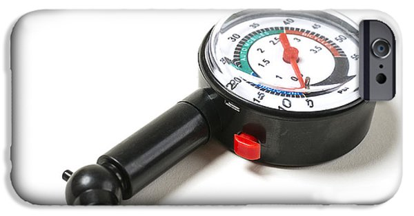 Work Tool Photographs iPhone Cases - Tire Pressure Gauge iPhone Case by Donald  Erickson