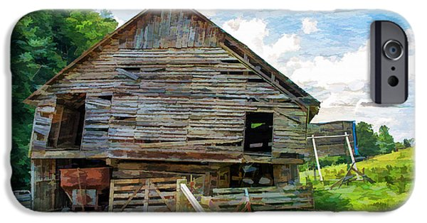 Old Barns iPhone Cases - Tired Barn iPhone Case by Larry Bishop