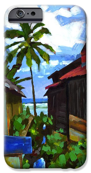 Waves Paintings iPhone Cases - Tiririca Beach Shacks iPhone Case by Douglas Simonson