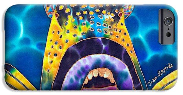 Sports Tapestries - Textiles iPhone Cases - Titan Triggerfish iPhone Case by Daniel Jean-Baptiste