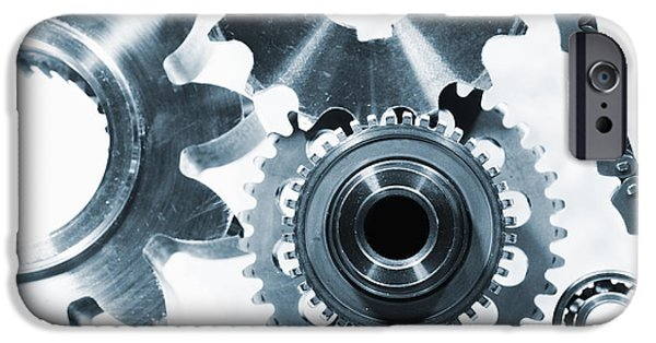 Best Sellers -  - Stainless Steel iPhone Cases - Titanium Aerospace Parts In Blue iPhone Case by Christian Lagereek