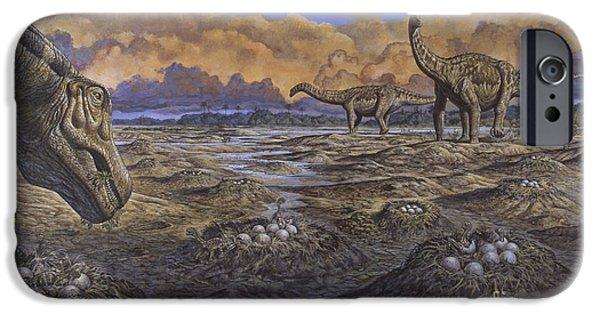 Mounds iPhone Cases - Titanosaur Nesting Site, Mid-cretaceous iPhone Case by Mark Hallett