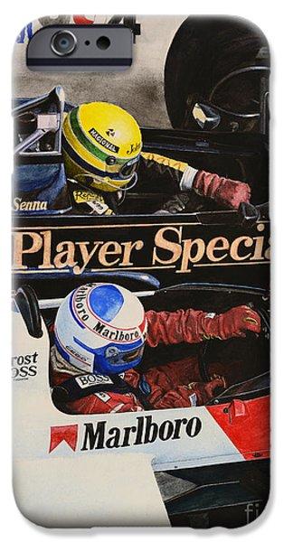 Ayrton Senna iPhone Cases - Titans Battle iPhone Case by Oleg Konin