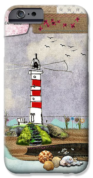 Tall Ship Mixed Media iPhone Cases - To be beside the seaside iPhone Case by Gillian Singleton