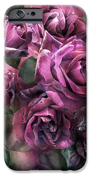 Papa iPhone Cases - To Be Loved - Mauve Rose iPhone Case by Carol Cavalaris