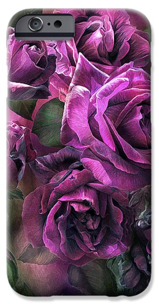Papa iPhone Cases - To Be Loved - Purple Rose iPhone Case by Carol Cavalaris