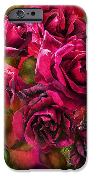 Papa iPhone Cases - To Be Loved - Red Rose iPhone Case by Carol Cavalaris