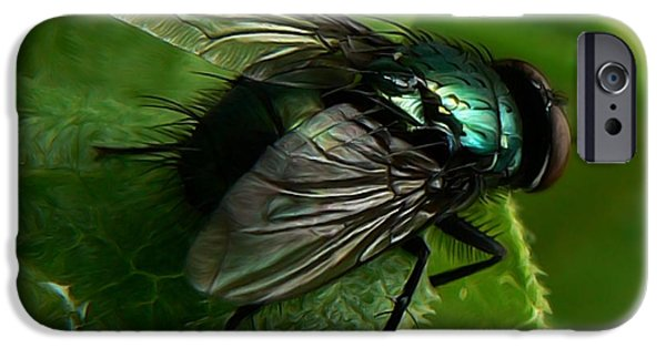 Flies Mixed Media iPhone Cases - To be the Fly on the Salad Greens iPhone Case by Barbara St Jean