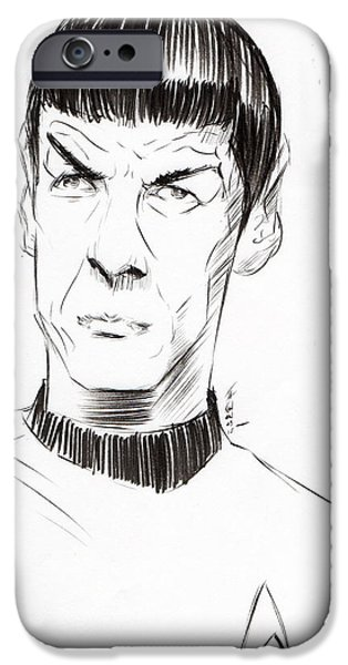 Science Fiction Drawings iPhone Cases - To Boldly Go...... iPhone Case by Tu-Kwon Thomas