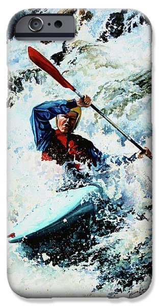 Canadian Sports Paintings iPhone Cases - To Conquer White Water iPhone Case by Hanne Lore Koehler