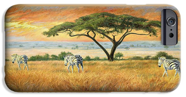 Zebra iPhone Cases - To Other Pastures iPhone Case by Lucie Bilodeau