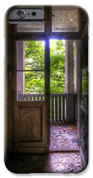 Haunted House Digital Art iPhone Cases - To the balcony  iPhone Case by Nathan Wright
