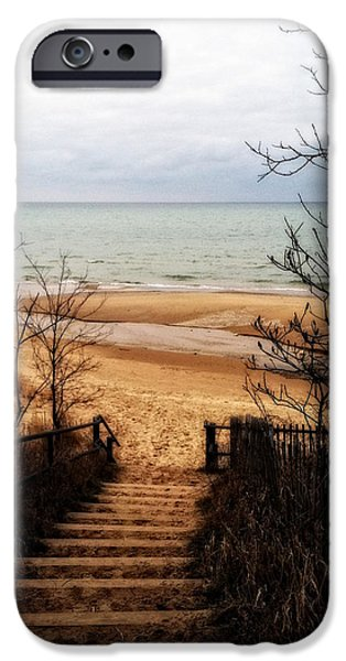 Wintertime Digital Art iPhone Cases - To the Beach iPhone Case by Michelle Calkins
