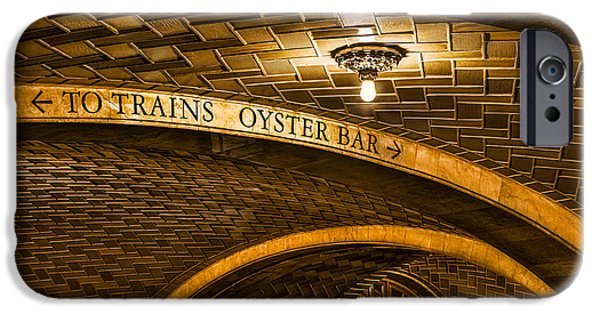 Railway Locomotive iPhone Cases - To Trains And Oyster Bar iPhone Case by Susan Candelario