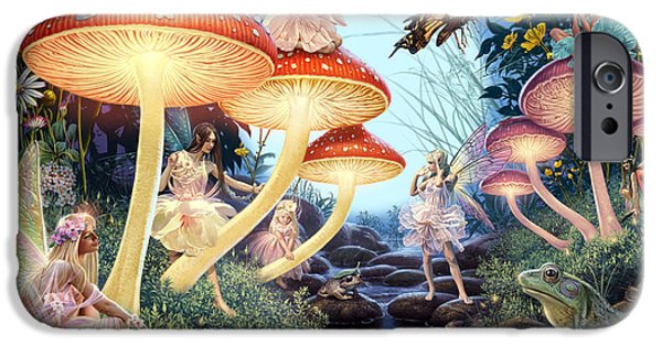 Fairies iPhone Cases - Toadstool Brook iPhone Case by Steve Read