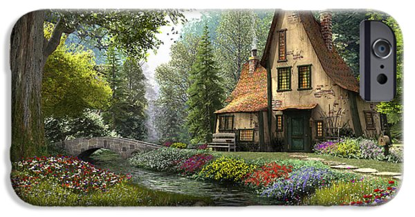 Stream Digital Art iPhone Cases - Toadstool Cottage iPhone Case by Dominic Davison