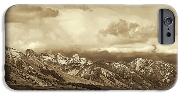 Monotone iPhone Cases - Tobacco Root Mountain Range Montana Sepia iPhone Case by Jennie Marie Schell