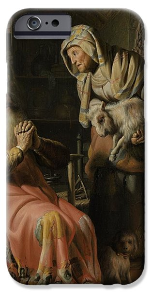 Rembrandt Drawings iPhone Cases - Tobit and Anna with the Kid iPhone Case by Celestial Images