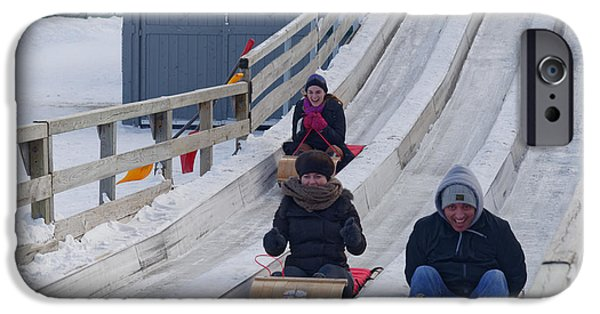 Tobogganing iPhone Cases - Toboggan Race iPhone Case by Colin Woods