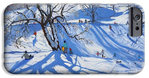 Tobogganing iPhone Cases - Tobogganers  Chatsworth iPhone Case by Andrew Macara