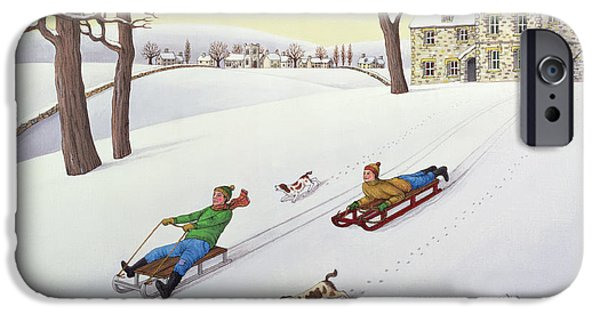 Snow iPhone Cases - Tobogganing, 1986 Acrylic On Linen iPhone Case by Larry Smart