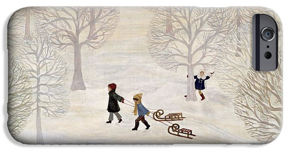 Snowball iPhone Cases - Tobogganing iPhone Case by Ditz