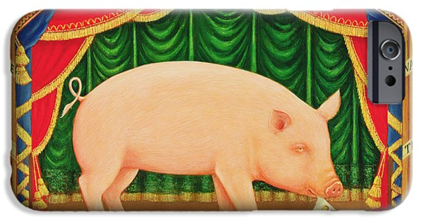 Theatre iPhone Cases - Toby The Learned Pig, 1998 Oil & Tempera On Panel iPhone Case by Frances Broomfield