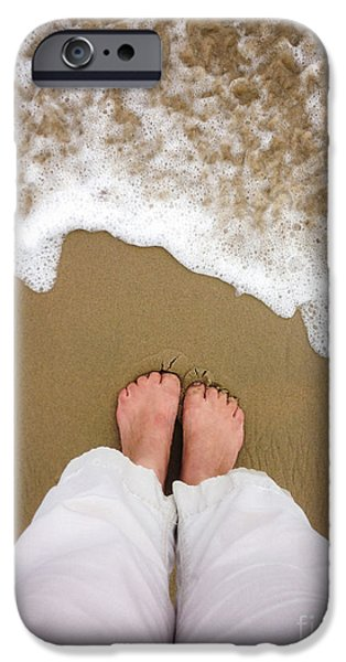 Concept Photographs iPhone Cases - Toes in the Sand iPhone Case by Diane Diederich