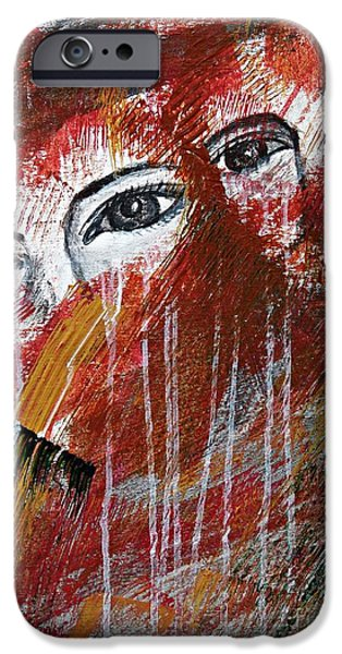 Women Together Mixed Media iPhone Cases - Together- Abstract Art iPhone Case by Ismeta Gruenwald