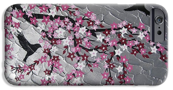 Cherry Blossoms Mixed Media iPhone Cases - Together iPhone Case by Cathy Jacobs