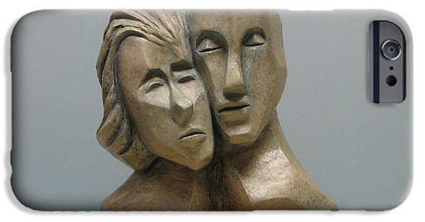 Person Sculptures iPhone Cases - Togetherness. iPhone Case by Nili Tochner