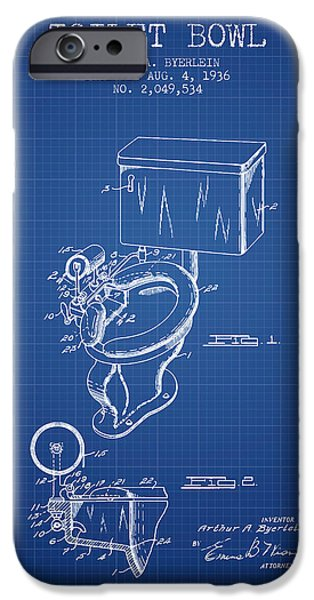 Plum iPhone Cases - Toilet Bowl Patent from 1936 - Blueprint iPhone Case by Aged Pixel