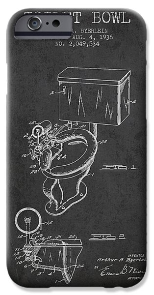 Plum iPhone Cases - Toilet Bowl Patent from 1936 - Charcoal iPhone Case by Aged Pixel