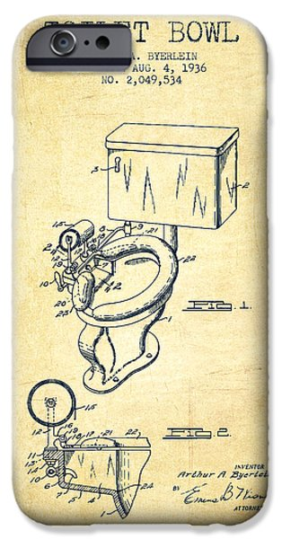 Plum iPhone Cases - Toilet Bowl Patent from 1936 - Vintage iPhone Case by Aged Pixel